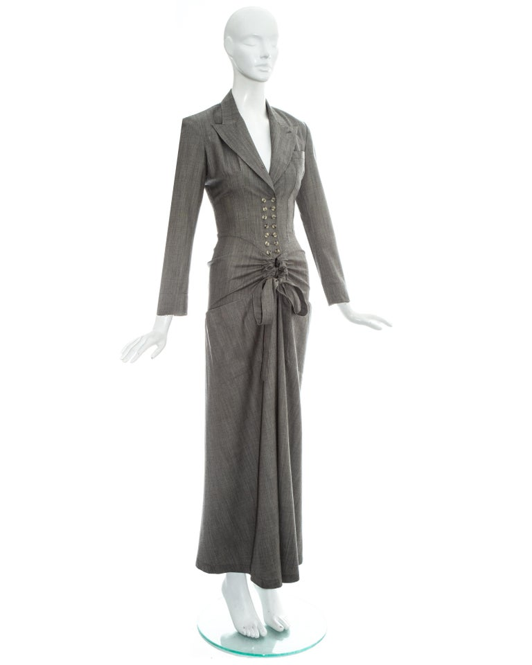 Women's Azzedine Alaia grey wool double breasted jumpsuit, ss 1988 For Sale