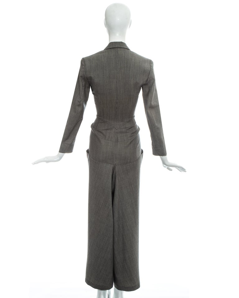 Azzedine Alaia grey wool double breasted jumpsuit, ss 1988 For Sale 2
