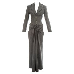 Azzedine Alaia grey wool double breasted jumpsuit, ss 1988