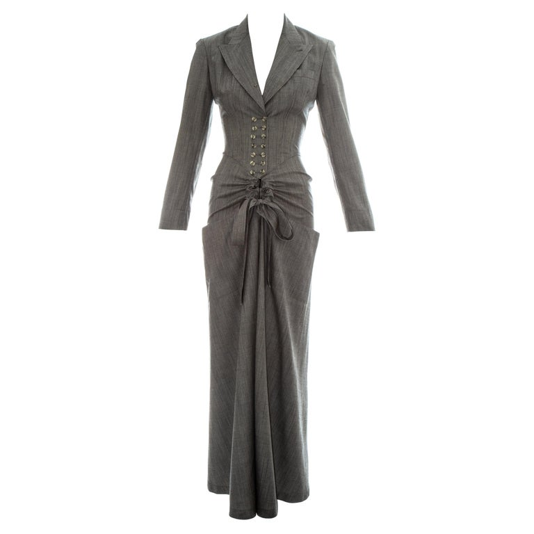 Azzedine Alaia grey wool double breasted jumpsuit, ss 1988 For Sale