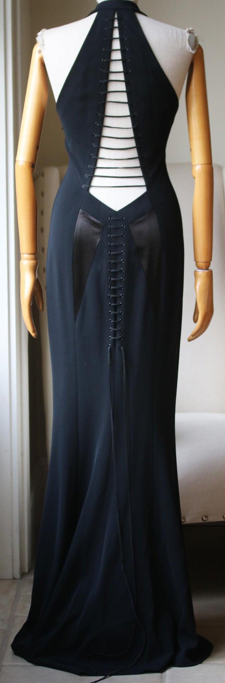 Black Azzedine Alaïa Haute Couture Cutout Lace-Up Gown  For Sale