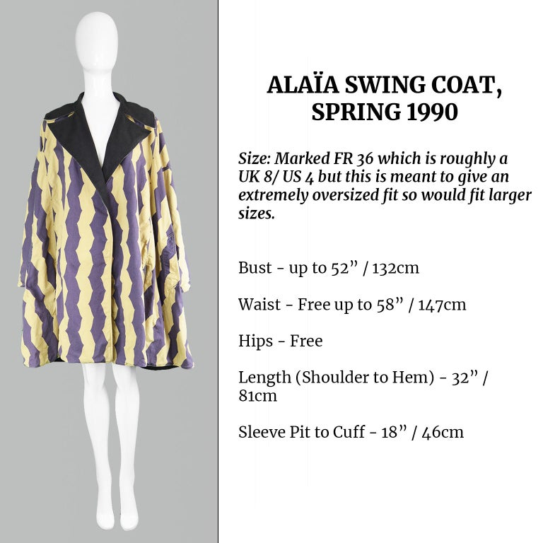 Azzedine Alaia Iconic Spring 1990 Runway Reversible Cotton Vintage Swing Coat For Sale 6