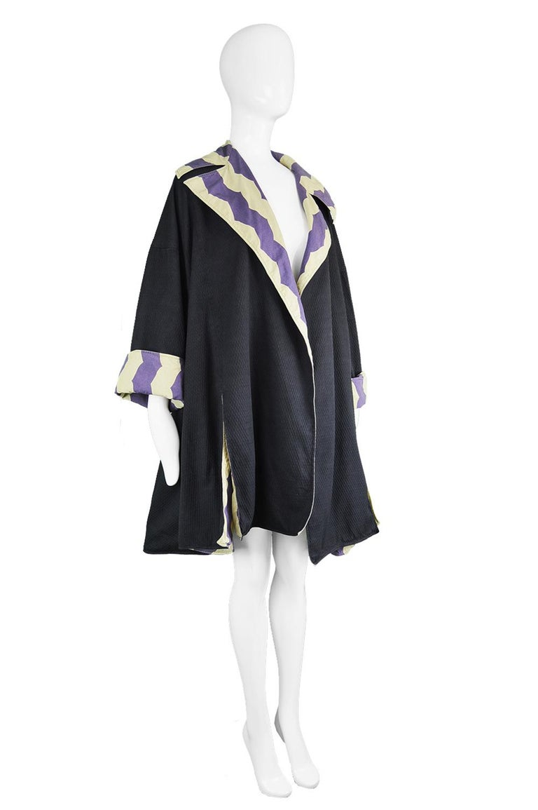 Black Azzedine Alaia Iconic Spring 1990 Runway Reversible Cotton Vintage Swing Coat For Sale
