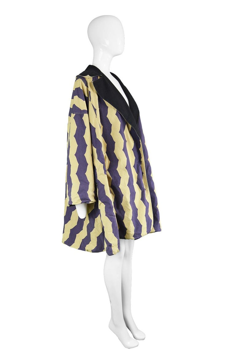 Women's Azzedine Alaia Iconic Spring 1990 Runway Reversible Cotton Vintage Swing Coat For Sale