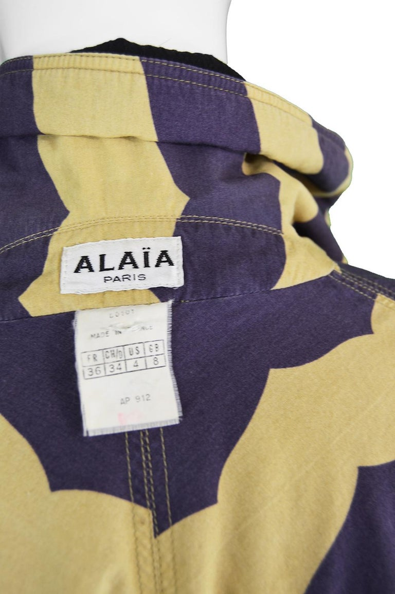 Azzedine Alaia Iconic Spring 1990 Runway Reversible Cotton Vintage Swing Coat For Sale 3