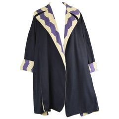 Azzedine Alaia Iconic Spring 1990 Runway Reversible Cotton Vintage Swing Coat