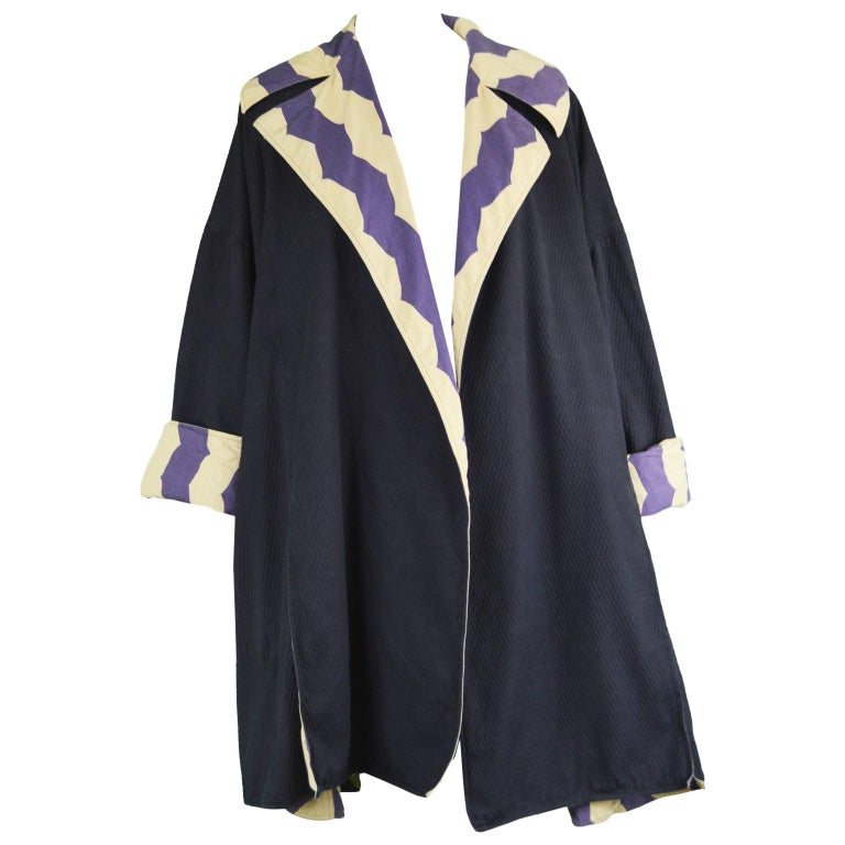 Azzedine Alaia Iconic Spring 1990 Runway Reversible Cotton Vintage Swing Coat For Sale