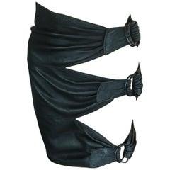 Azzedine Alaia Iconic Vintage Leather Cutout Mini Skirt