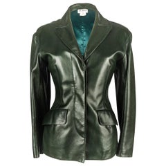 Azzedine Alaia Jacket Vintage Shaped Dark Bottle Green Leather 38 / 6