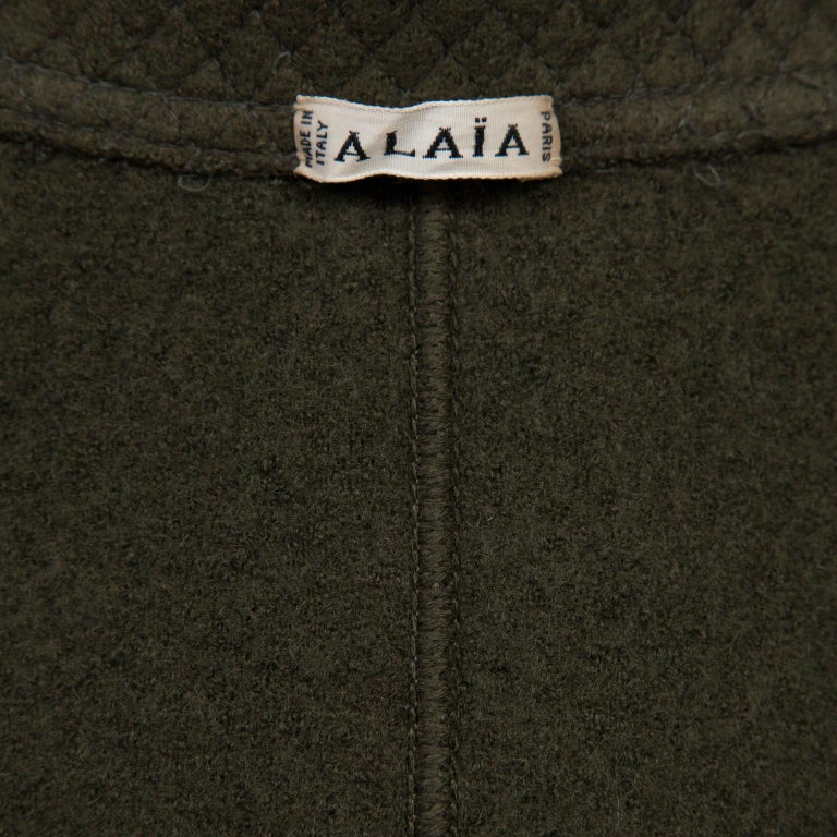 Women's Azzedine Alaia Khaki Olive Green Wool Jacket 1980's For Sale