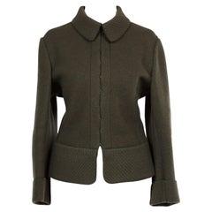 Azzedine Alaia Khaki Olive Green Wool Jacket 1980's