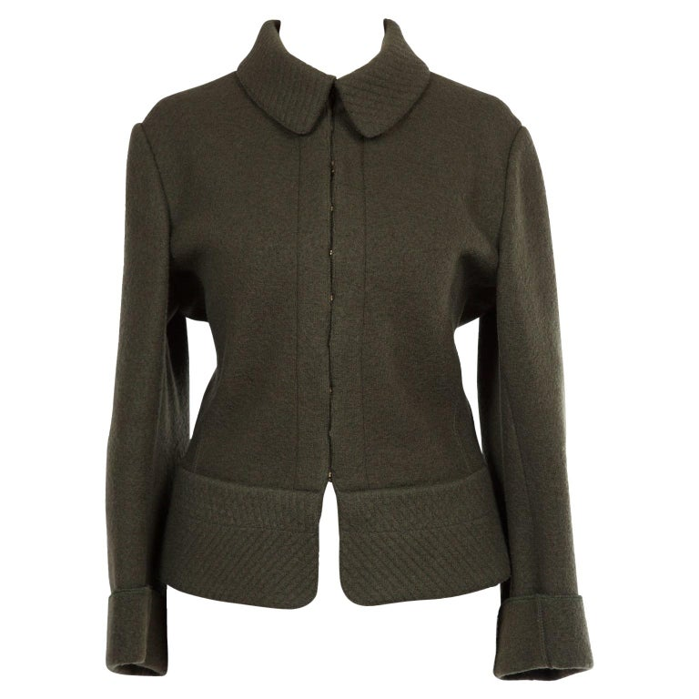 Azzedine Alaia Khaki Olive Green Wool Jacket 1980's For Sale