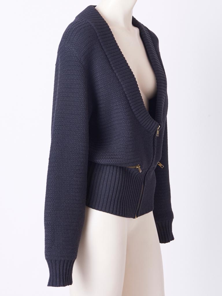 Black Azzedine Alaia Knit Blouson with Zipper Detail For Sale