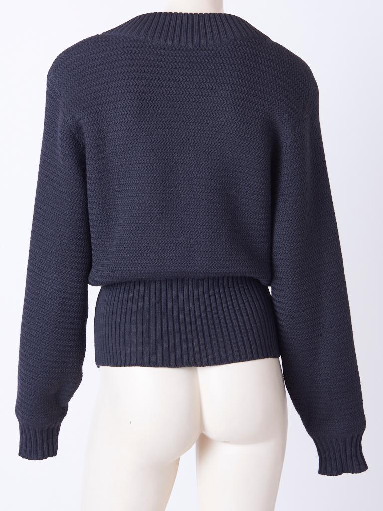 Azzedine Alaia Knit Blouson with Zipper Detail In Good Condition For Sale In New York, NY