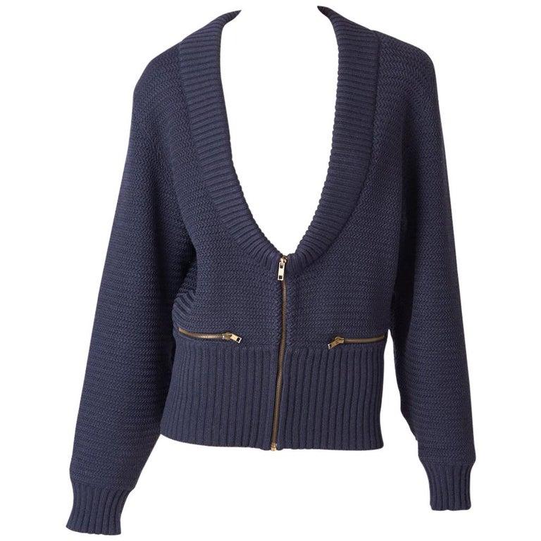 Azzedine Alaia Knit Blouson with Zipper Detail For Sale
