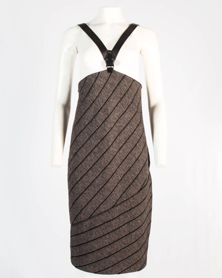 Black Azzedine Alaia knitted wool pencil skirt with black leather harness, a / w 1987 For Sale