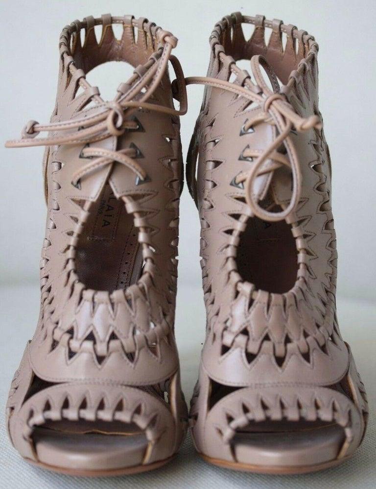 Brown Azzedine Alaïa Lace-Up Leather Sandals  For Sale