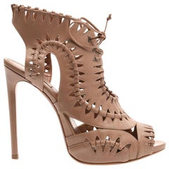 Azzedine Alaïa Lace-Up Leather Sandals