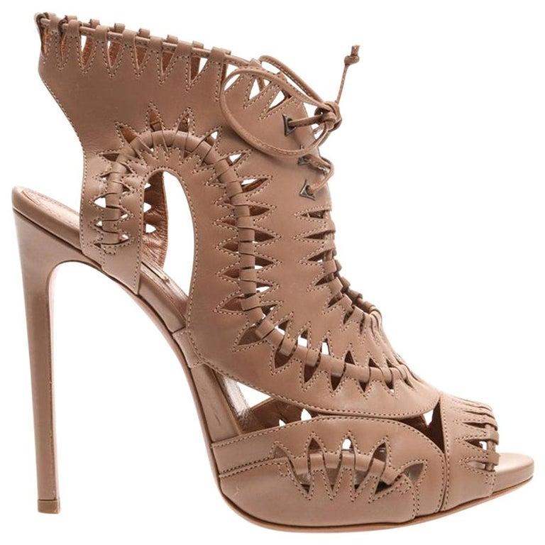 Azzedine Alaïa Lace-Up Leather Sandals  For Sale