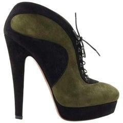 Azzedine Alaïa Lace-Up Suede Ankle Boots