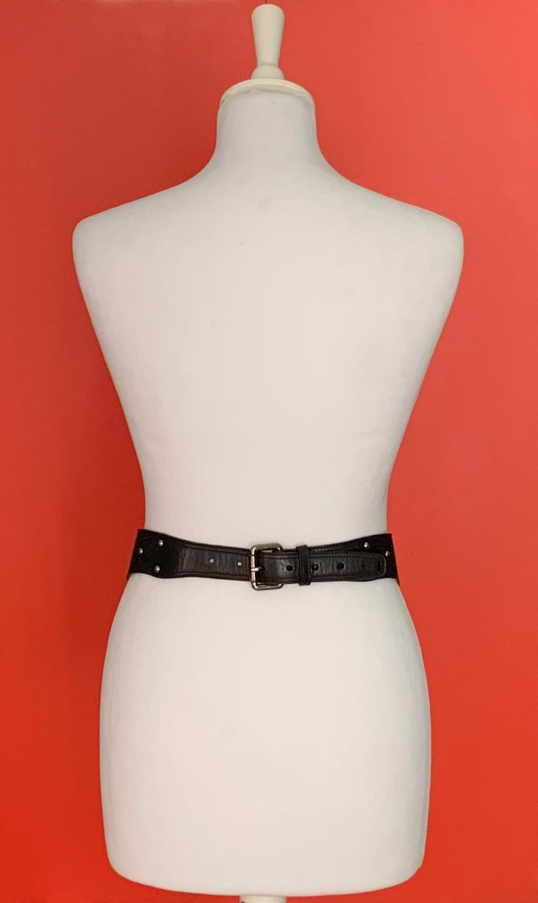 Azzedine Alaïa Laser-cut Black Leather Waist Belt In Good Condition For Sale In Geneva, CH