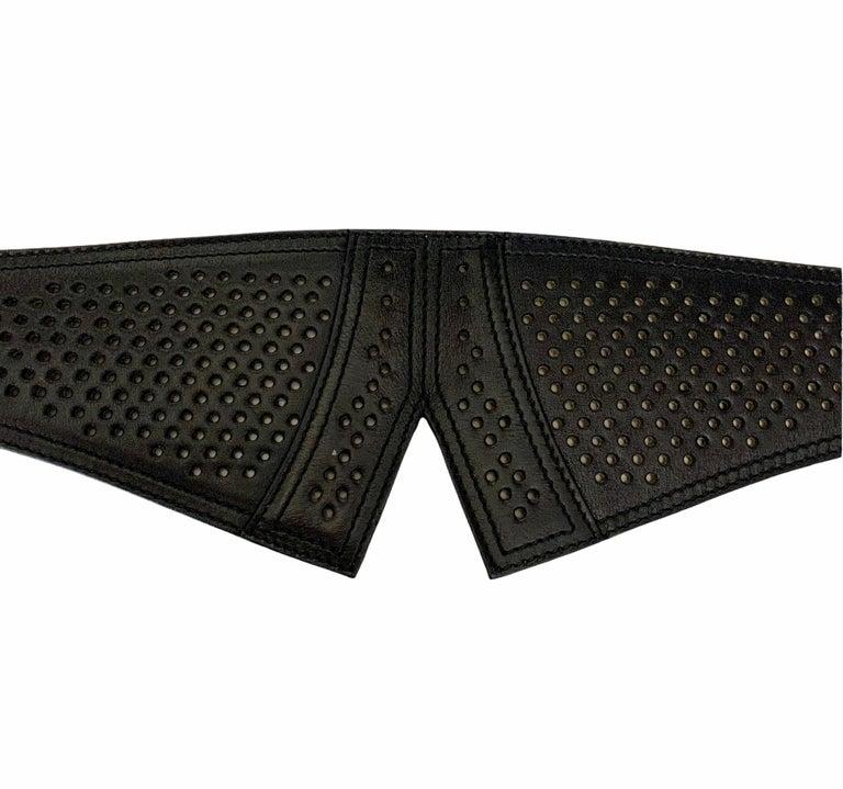 Women's Azzedine Alaïa Laser-cut Black Leather Waist Belt For Sale