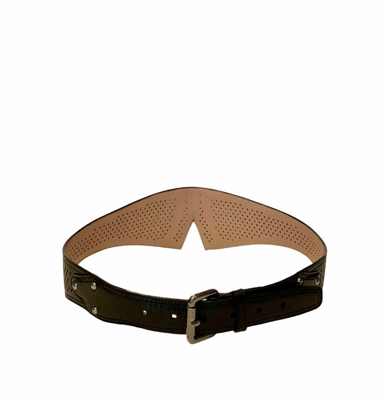 Azzedine Alaïa Laser-cut Black Leather Waist Belt For Sale 1
