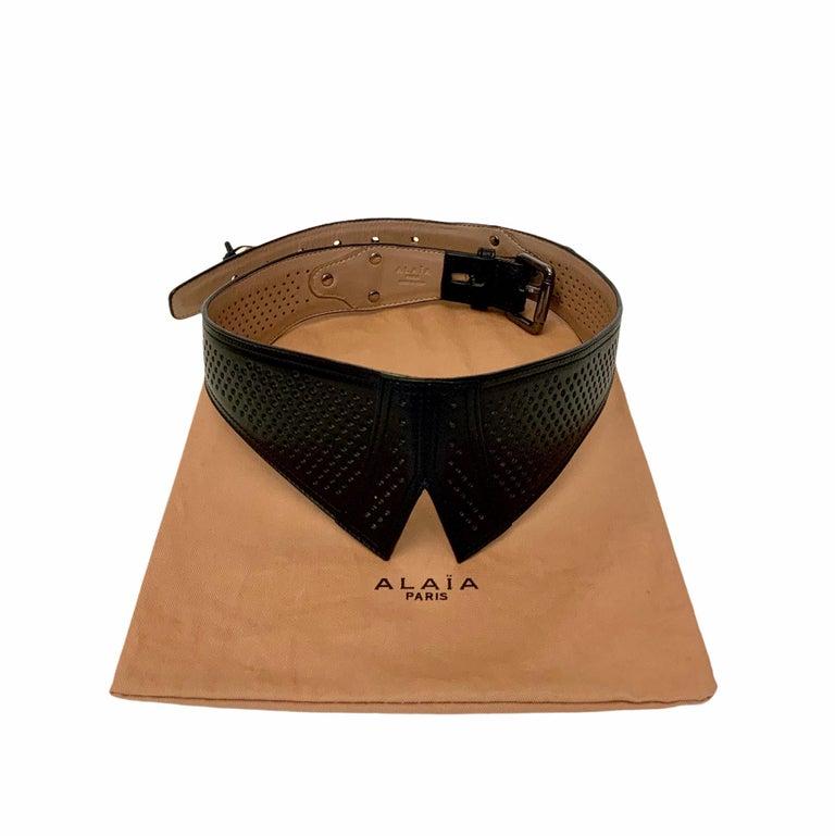 Azzedine Alaïa Laser-cut Black Leather Waist Belt For Sale 2