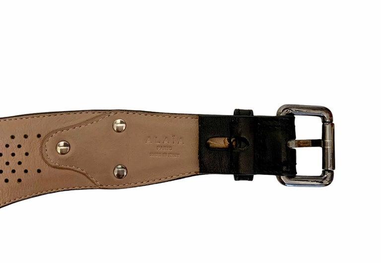 Azzedine Alaïa Laser-cut Black Leather Waist Belt For Sale 4