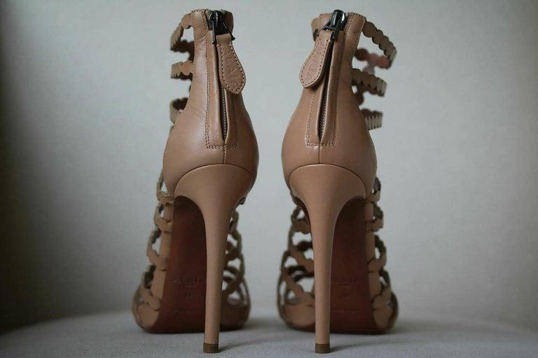 Women's Azzedine Alaïa Laser-Cut Leather Sandals  For Sale