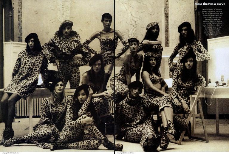 Brown Azzedine Alaia leopard print knit figure hugging sweater dress, fw 1991  For Sale