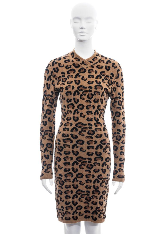 Women's Azzedine Alaia leopard print knit figure hugging sweater dress, fw 1991  For Sale