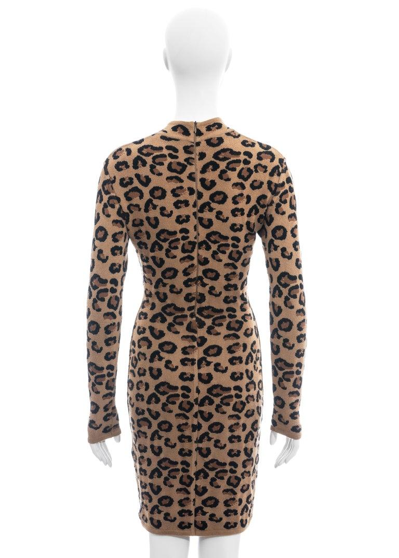 Azzedine Alaia leopard print knit figure hugging sweater dress, fw 1991  For Sale 3
