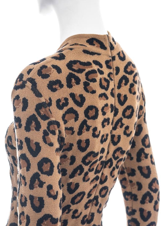 Azzedine Alaia leopard print knit figure hugging sweater dress, fw 1991  For Sale 4