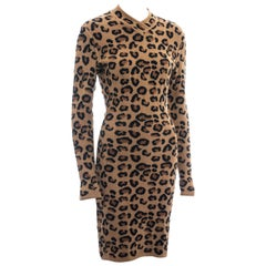 Azzedine Alaia leopard print knit figure hugging sweater dress, fw 1991