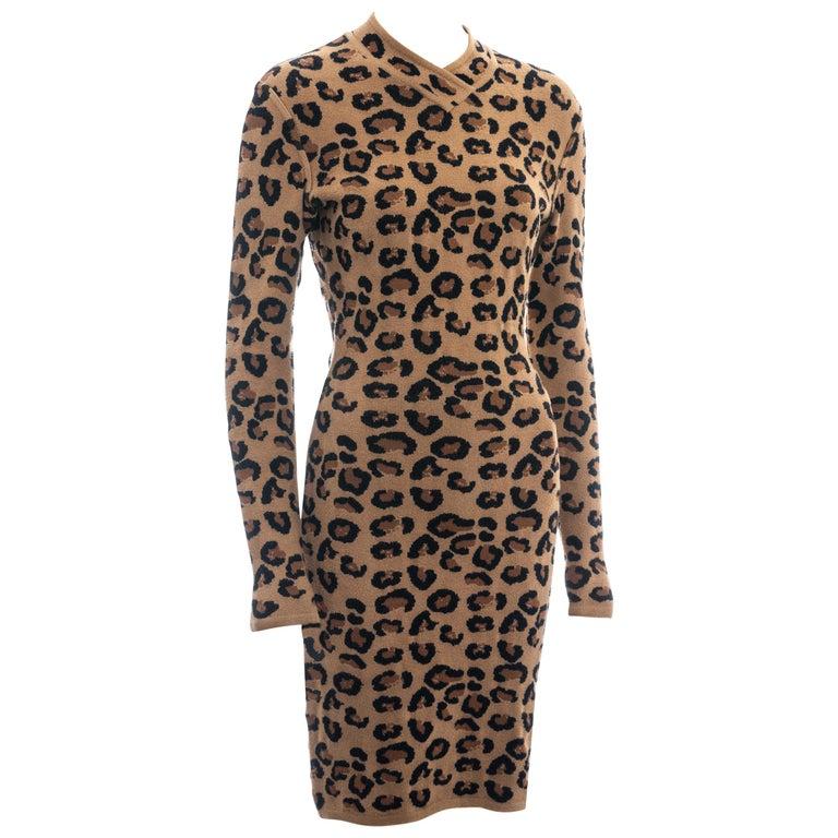 Azzedine Alaia leopard print knit figure hugging sweater dress, fw 1991  For Sale