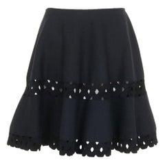 Azzedine Alaïa Macramé Wool-Blend Mini Skirt