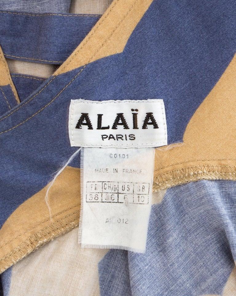 Azzedine Alaia mauve and tan stripe cotton mini sundress, ca. 1990 For Sale 5