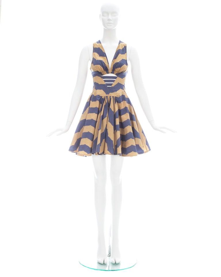 Gray Azzedine Alaia mauve and tan stripe cotton mini sundress, ca. 1990 For Sale