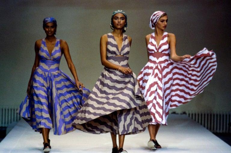 Azzedine Alaia mauve and tan stripe cotton mini sundress, ca. 1990 In Good Condition For Sale In Chester, Chester