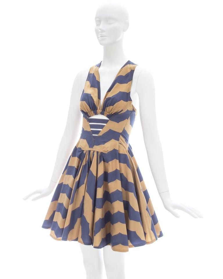 Azzedine Alaia mauve and tan stripe cotton mini sundress, ca. 1990 For Sale 2
