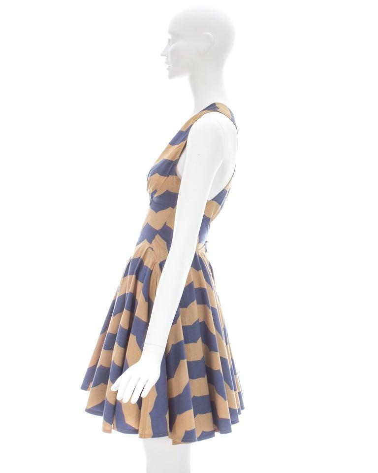 Azzedine Alaia mauve and tan stripe cotton mini sundress, ca. 1990 For Sale 3
