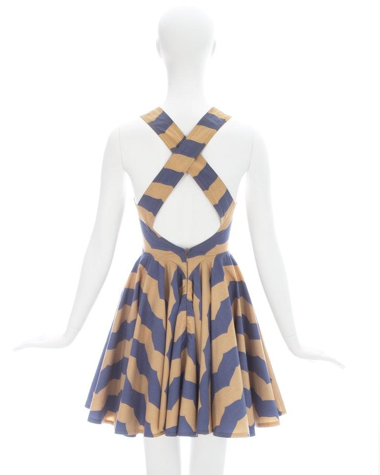 Azzedine Alaia mauve and tan stripe cotton mini sundress, ca. 1990 For Sale 4