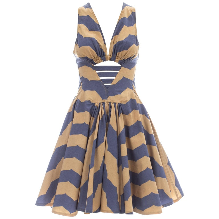 Azzedine Alaia mauve and tan stripe cotton mini sundress, ca. 1990 For Sale