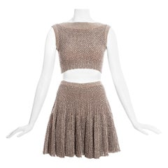 Azzedine Alaia metallic knitted crop top and skater skirt set, ss 2015