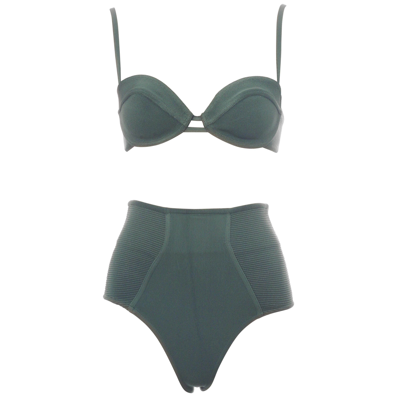 Azzedine Alaia mint green spandex bra and shorts, ss 1990