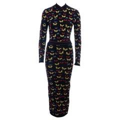 Azzedine Alaia multicoloured rayon knit butterfly two-piece dress, fw 1991