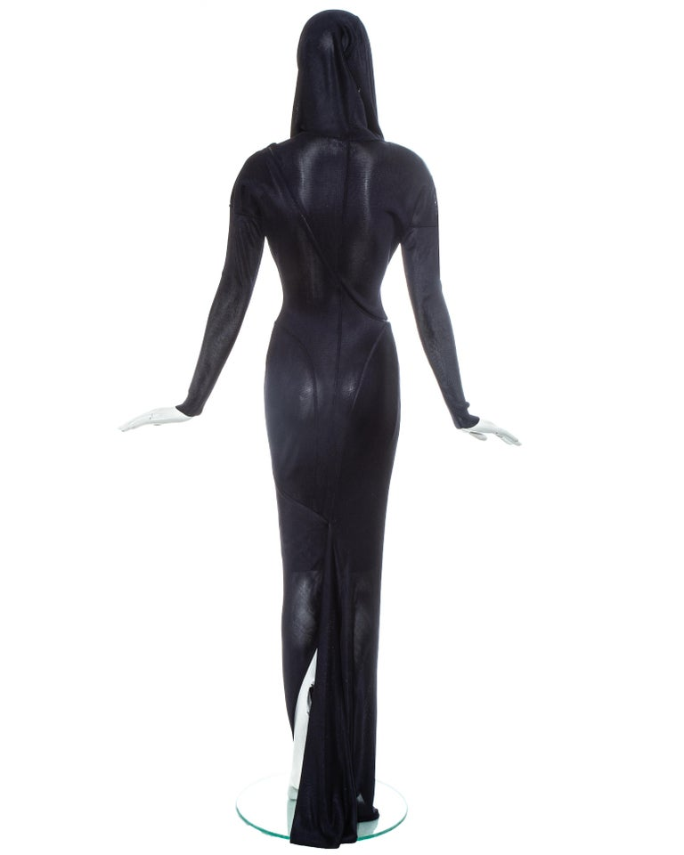 Azzedine Alaia navy acetate bias cut hooded evening dress, fw 1986 For Sale 3