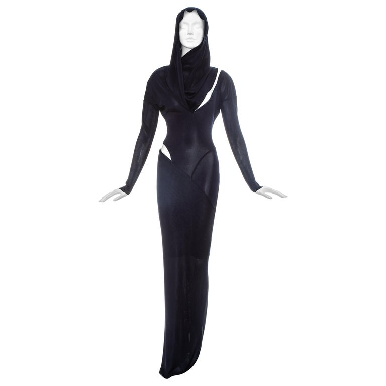 Azzedine Alaia navy acetate bias cut hooded evening dress, fw 1986 For Sale