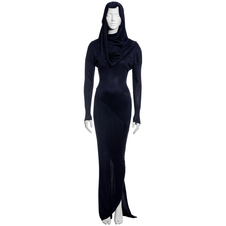Azzedine Alaia navy acetate knit hooded maxi dress, fw 1986